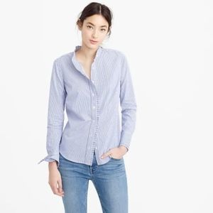 J. Crew Ruffled button-up shirt in stripe